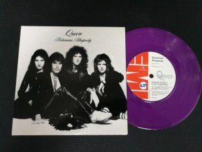 """7"""" Vinyl single Queen Bohemian rhapsody (UK) 1995 Purple No 429 Fanclub letter"""