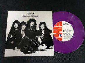 "7"" Vinyl single Queen Bohemian rhapsody (UK) 1995 Purple No 874 Fanclub letter"