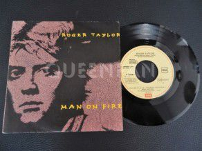 "7"" Vinyl single Roger Taylor Man on fire (Spain) Promo (Queen)"